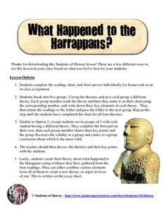 This is an awesome cooperative learning activity that has students thinking critically and analyzing several different theories about the ancient Harappan civilization along the Indus River Valley