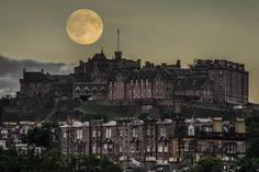 Blue Moon over Edinburgh Castle