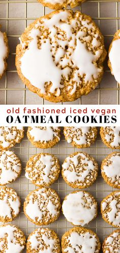 Old-fashioned Iced Vegan Oatmeal Cookies! Chewy with soft centers, and completely addicting. Old-fashioned Iced Vegan Oatmeal Cookies! Chewy with soft centers, and completely addicting. Vegan Treats, Vegan Foods, Vegan Dishes, Healthy Vegan Cookies, Vegan Cupcakes, Vegan Oatmeal Cookies, Oatmeal Cake, Vegan Dessert Recipes, Vegan Baking Recipes