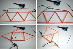 DIY himmeli by BloggUgla. Geometric party decoration, ornament, craft. Mobile made of straws & string.