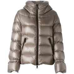 Moncler 'Badete' padded jacket ($1,270) ❤ liked on Polyvore featuring outerwear, jackets, metallic, logo jackets, quilted hooded jacket, quilted jacket, feather jacket and hooded jacket