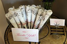 This website has super cute ideas for a sweet Southern Bridal Shower <3  Cute lace roll up for nuts