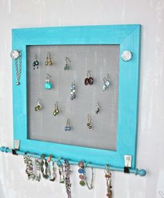 Earring and Jewelry Organizer Wood Frame Accessory by onthewallusa