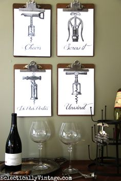 Four FREE Wine Printables - these are so much fun! Just download and print eclecticallyvintage.com