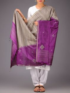 Purple-Beige Tussar Silk Zari Kasuti Embroidered Dupatta - Buy > > Purple-Beige Tussar Silk Zari Kasuti Embroidered Dupatta Online at Jaypore.com