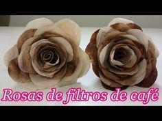 Diy - Flor Nº 5 - Filtro de Café - Decoração - Scrapbook - Shabby Chic - Vintage…