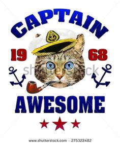captain hat,Funny illustration of captain,T-shirt Graphics,Navy cat,ship captain cute cat,sailor cat,cute cat illustration