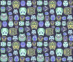 owls violet yellow green fabric by katarina on Spoonflower - custom fabric