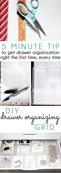 DRAWER ORGANIZING QUICK TIP! Use this five minute DIY grid to get drawer organization right the first time, every time!
