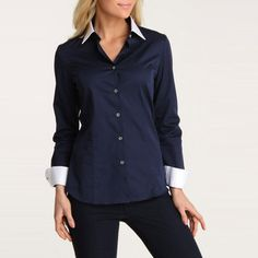 Navy button down with white collar
