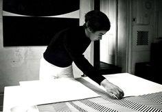 Bridget Riley desiging her infamous Op art prints