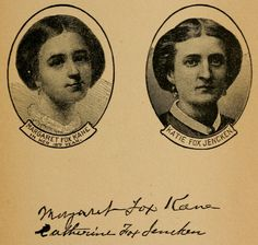 "The Fox Sisters (photo links to  ""The Death-Blow to Spiritualism:Being the true story of the Fox sisters, as revealed by authority of Margaret Fox Kane and Catherine Fox Jencken"" , by Reuben Briggs Davenport.)"
