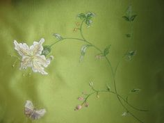 Elegant lily with butterfly for bedcover.