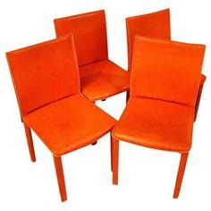 Roche Bobois Orange Leather Chairs - Set of 4