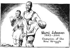 Zapiro - 010605so - Obituary cartoon: Nkosi Johnson (1989-2001) Durban South Africa, African Children, Everyone Else, Kissing, Masters, Conference, Holding Hands, Champion, Cartoons