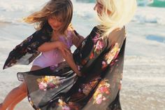 wild and whimsy : mommy & me kimonos // black floral
