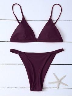Low Waisted Spaghetti Strap Bikini Swimwear - WINE RED S Mobile