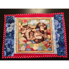Playful Kitties Placemats Set of 6, Quilted, Reversible with Red... ($41) ❤ liked on Polyvore featuring quilted placemats, quilted table mats, quilted place mats, quilting placemats and handmade placemats
