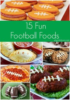 15 Fun Football Foods - This collection is a terrific mix of creatively-served savory and sweet recipes (all the shape of a football) from some of my favorite bloggers!