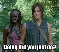Look at Michonne's face..lol