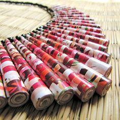 Craft Paper Bead Necklace by HippieKingdom $68