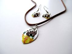 Mother Elephant Jewellery Set by TheWhimsicalWodgelet on Etsy, $20.00
