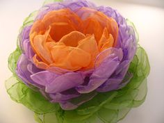 Fabric flower brooch in green purple and orange by PaijasBoutique, $22.00