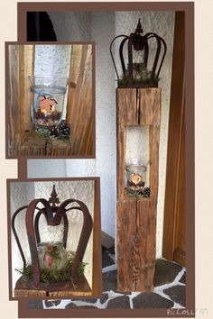 Old wood wood deco autumn nature wooden lantern from old beams - HOLZ IDEEN Home Crafts, Diy And Crafts, Wooden Lanterns, Contemporary Chandelier, Country Crafts, Wood Beams, Shabby Vintage, Old Wood, Wood Projects