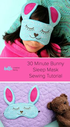 This 30 Minute Bunny Sleep Mask Sewing Tutorial is just about as cute as  can be ca82729715cc5
