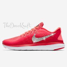 4b916ef9df1d72 Womens Bling Nike Flex Run 2017 Red Mango Black Custom Crystal Swarovski  Sneakers