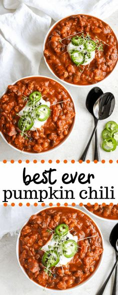 This pumpkin chili recipe takes your traditional turkey and bean chili and gives it a nutritious upgrade by adding canned pumpkin puree. Done in about in hour, this pumpkin turkey chili is protein packed, healthy, and perfect for fall! #pumpkinchili #turkeychili #fall #fallrecipes #pumpkinrecipes Pumpkin Puree Recipes, Pureed Food Recipes, Soup Recipes, Dinner Recipes, Healthy Recipes, Pumpkin Dishes, Sausage Recipes, Healthy Pumpkin, Vegan Pumpkin