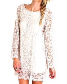 ONLY 2 Smalls Left! Ivory Long Sleeve Lace Dress $64 Now on SALE!