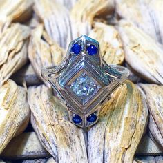 Antique Diamond And Sapphire Ring by BFJewelryEst1984 on Etsy