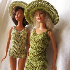 Barbie Doll crochet pattern- Chevron dress and swimsuit with wide brimmed hat.