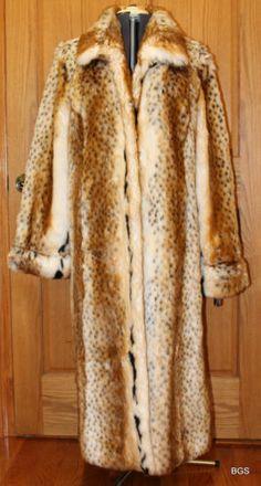 Pamela McCoy Faux Lynx Long Sleeve Full Length Coat Women's Large | eBay