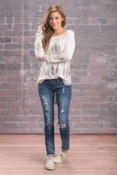 """""""Diva Dreams Skinny Jeans, Denim"""" Yes girl!! We love these fab skinnies!! They are distressed and casual! They are going to look great with just about any chill top you have!! #newarrivals #shopthemint"""