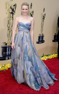 Iconic Oscars Style: Rachel McAdams went for Elie Saab's soft, watercolor floral gown in 2010.