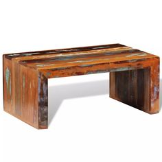 vidaXL Solid Reclaimed Wood Coffee Side Accent Table Living Room Furniture for sale online Build A Coffee Table, Retro Coffee Tables, Ikea Coffee Table, Reclaimed Wood Coffee Table, Coffee Table Rectangle, Rustic Coffee Tables, Reclaimed Furniture, Vintage Coffee, Timber Furniture