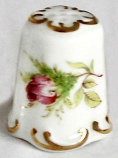 RP:  Vintage Porcelain Thimble with Floral Motif - Lavender Rose - etsy.com