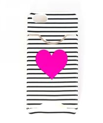 iphone Case 5/5s w/ Card Slot- Black and White Striped/Neon Pink