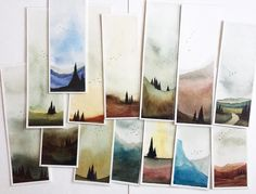 art - These bookmarks are all done and ready for new homes They measure 2 5 x and 2 5 x What I like most about these is that every single one is unique These are original works of art in the shape of a bookmark and laminated So they make for a re Love Painting, Watercolour Painting, Painting & Drawing, Painting Inspiration, Art Inspo, Watercolor Bookmarks, Art Brut, Art Tutorials, Art Reference