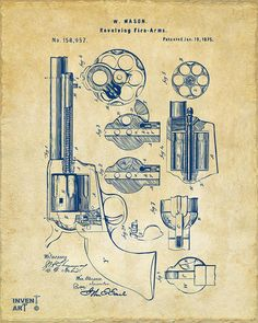 1875 Colt Peacemaker Revolver Patent Vintage Drawing