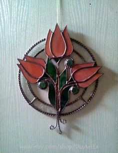 Pendant Orange tulips. Flowers Floral Stained Glass. by DizArtEx #tulipsorange #flowerstulips #wallhanging
