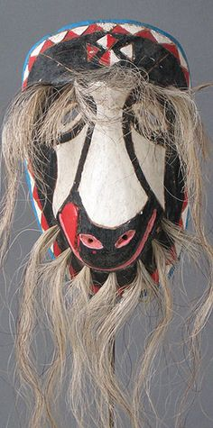 Yaqui Cabra Pascola máscara de Sonora, México - in the USA it is hard to imagine the current use of these dance masks but the dances are real & meaningful - for more on Mexico visit www.mainlymexican... #Mexico #Mexican #mask