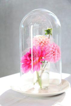 pink cloche centerpiece