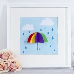 This colorful umbrella picture is the perfect craft idea for a rainy day. This craft would look lovely displayed on the wall in a frame. 3d Craft, Diy Craft Projects, Diy Crafts, Craft Ideas, Diy For Kids, Crafts For Kids, Toddler Crafts, Letter D Crafts, Art From Recycled Materials