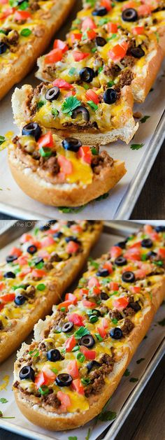 Easy and delicious, this Taco French Bread Pizza is ready in less than 30 minutes! Easy and delicious, this Taco French Bread Pizza is ready in less than 30 minutes! Pizza Recipes, Appetizer Recipes, Mexican Food Recipes, Beef Recipes, Recipies, Yummy Recipes, Pizza Loaf Recipe, Lunch Recipes, Mexican Appetizers Easy