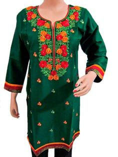 Womens Peasant Green Tunic Shirt Floral Embroidered Cotton Blouse Top Medium Size: Clothing  $33.99