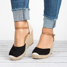 5fa81034b55 Ankle Strap Espadrilles Wedges-Black Strappy Shoes