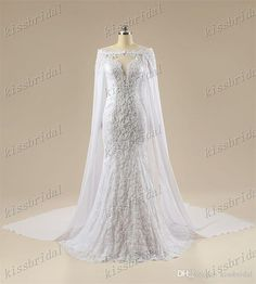 2015 Berta Real Photos Sexy Lace Mermaid Wedding Dresses With Detachable Cape Jewel Neck Plunging Long Sleeve Beaded Appliques Bridal Gowns